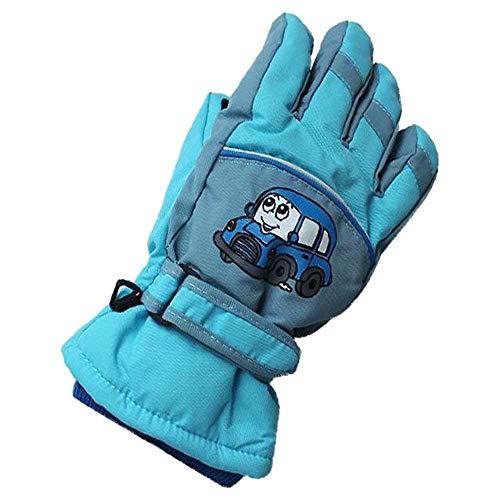 Kinder Winter Ski Handschuhe Warm Wasserdicht Rutschfest Skifahren Schnee Handschuh Full Finger Schutzhands für Outdoor Snowboard Radfahren (Himmelblau, für 4-6 Jahre alt Kinder) | 00734010825796