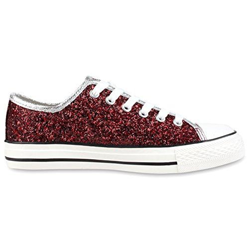 Trendige Unisex Sneakers | Low-Cut Modell | Basic Freizeit Schuhe | Viele Farben | Gr. 36-45 Dunkelrot ufq8MeS3RQ