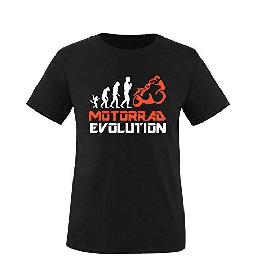 EZYshirt® Motorrad Evolution Herren Rundhals T-Shirt Schwarz/Weiss/Orange