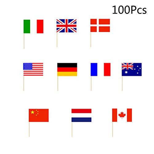 BESTONZON 100 stücke Landesflaggen Cupcake Topper/Zahnstocher, Cocktail Sticks Partei Liefert (Patriotische Partei Liefert)