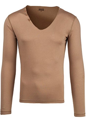 BOLF STEGOL Herren Longsleeve Langarm Shirt Slim Fit Pullover Sweatshirt 1A1 Mix Beige_547