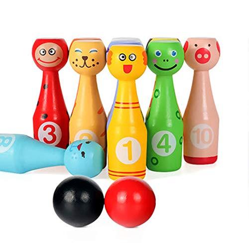 GYJ Hölzerne Kinder Bowling Set -Bowling Action-Spiel