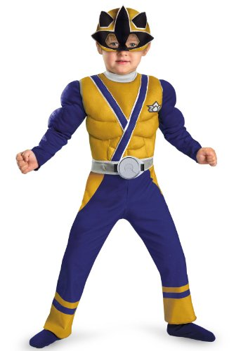 Power Rangers Gold Ranger Samurai Muscle Chest Costume Child Toddler Small ()