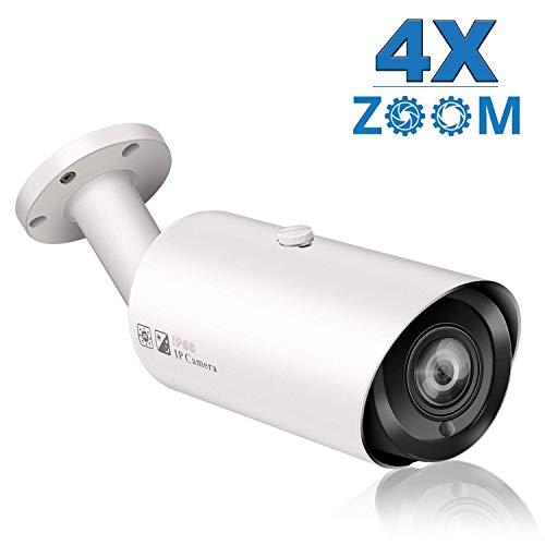 Telecamera IP PoE 5MP Zoom ottico 4x, Telecamera di sicurezza IP Visione notturna IR 35M Resistente agli agenti atmosferici esterna interna, Rilevamento movimento, Onvif Compatibile H.265/H.264