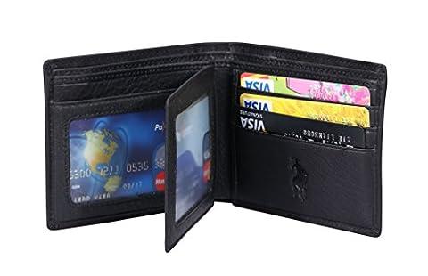 VIDENG POLO Blocage RFID Portefeuille en cuir pour hommes -