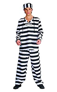 FIORI PAOLO-carcerato disfraz adulto Mens, negro, talla 52-54, 62019