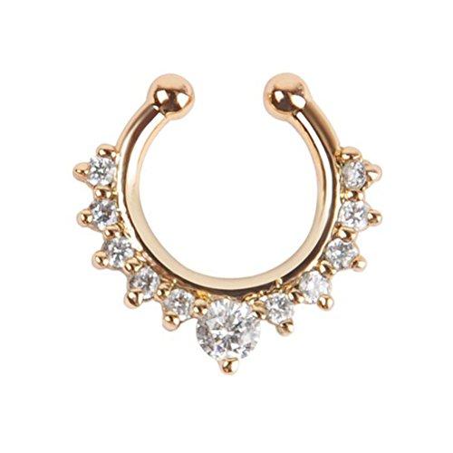 OULII Fancy-Legierung Kristall Falsch Ring Nase Setto Seehecht Ring Creolen nicht Piercing Schmuck Körper (Goldene)