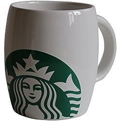 Taza, diseño de logo de Starbucks, tamaño mediano, cerámica, 355 ml, color blanco