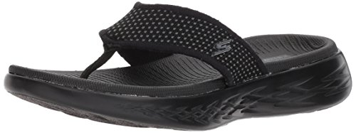 Skechers On The Go 600, Sandalias de Punta Descubierta para Mujer, Negro (Black), 39 EU