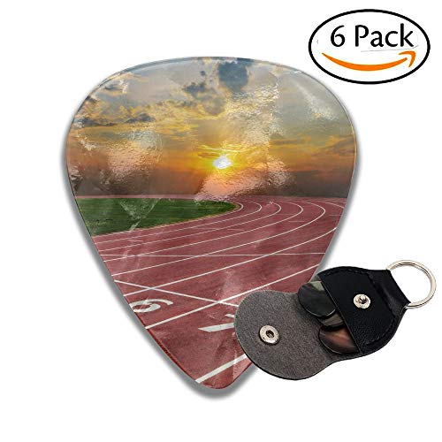 Athlete Track Or Running Track With Nice Scenic Stylish Celluloid Guitar Picks Plectrums For Guitar Bass 6 Pack.71mm