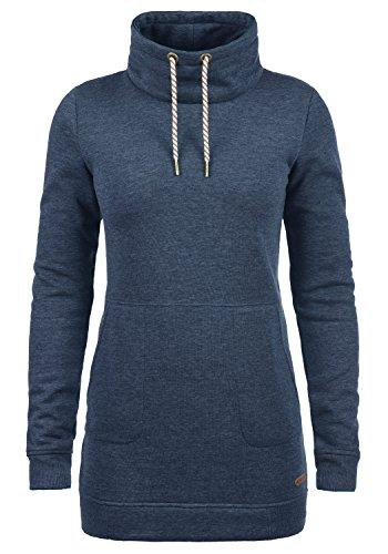 DESIRES Vilma Damen Langes Sweatshirt Pullover Longpullover Mit Stehkragen, Größe:XS, Farbe:Insignia Blue Melange (8991)