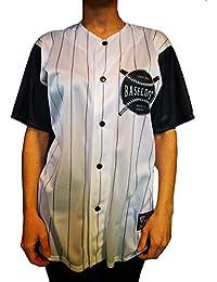 UISSOS Camiseta Béisbol combinada de Rayas Blanco y Negro Logo BESALORDS  Chico Hombre con Botones 65c9dac8431