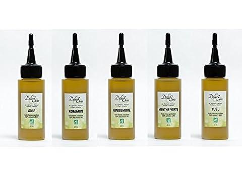 Würzöle BIO Olivenöl mit Aroma 5er Packet 5 x 60ml, Sorten wie Basilikum, Rosmarin, Yuzu, Thymian, Ingwer, Anis, Limone, grüne Minze, Kreuzkümmel, oder Zitronenverbene   französische Feinkost, französische Delikatessen, französische Spezialitäten, Gourmet Öl, Salatöl, Olivenöl bio, Olivenöl Frankreich, Olivenöl fruchtig, Bio Geschenk, Bio Geschenkset, Bio Geschenkset, Saucen Set, Soßen Set, Saucen Flaschen, Bio