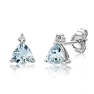 ecf123e447 Miore Orecchini Donna Piccoli a Lobo Aquamarina con Diamanti taglio  Brillante Oro Bianco 9 Kt / 375: Amazon.it: Gioielli
