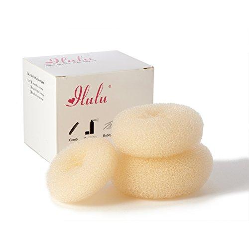 iLuLu Beauty 3 Stueck Haar Chignon Bun Donut Shapers (1x Gross, 1x Mittel, 1x Klein)Farbe: Blond Kleine Bun Shaper