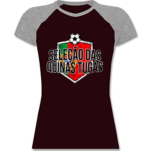 EM 2016 - Frankreich - Portugal-Seleção das Quinas Tugas Vintage - zweifarbiges Baseballshirt / Raglan T-Shirt für Damen Burgundrot/Grau meliert