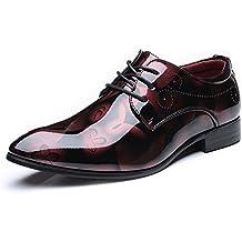 GS-Shoes Pintura bruñida Lisa de los Hombres Zapatos de Cuero de la PU Clásico