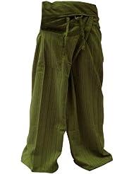 Pescador Pantalones Tailandeses Pantalones Yoga Plus Tamaño TAMAÑO LIBRE Rayón de algodón gris y Banda azul oscuro