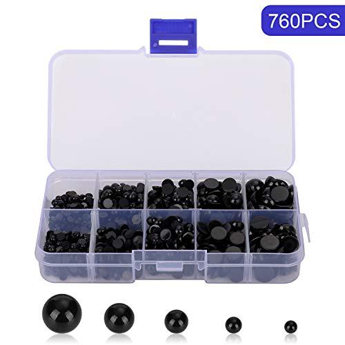 Tosenpo 760 Stück 4-10 mm Kunststoff-Sicherheitsaugen rund flach Puppen Augen für Bären Puppen DIY Herstellung (4mm Puppe Augen)