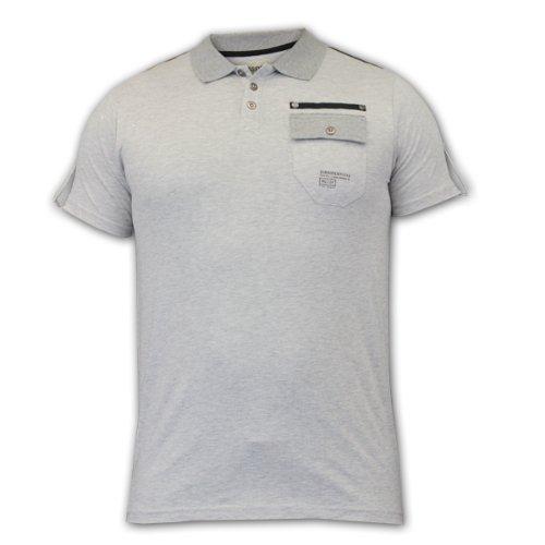 Herren Polohemd T-Shirt Dissident Top Kurzarm Kragen Schulterklappen Freizeit Sommer Neu Grau - 1X4441
