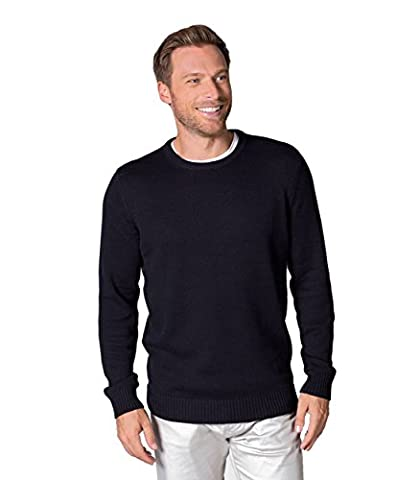 WoolOvers Mens 100% Cotton Crew Neck Knitted Sweater Navy, S