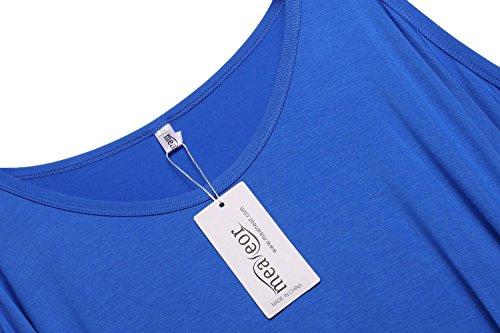 Meaneor T Shirt Femme Col V Lacet Casual Solide Blouse Croix Manches Longues Bleu foncé 2