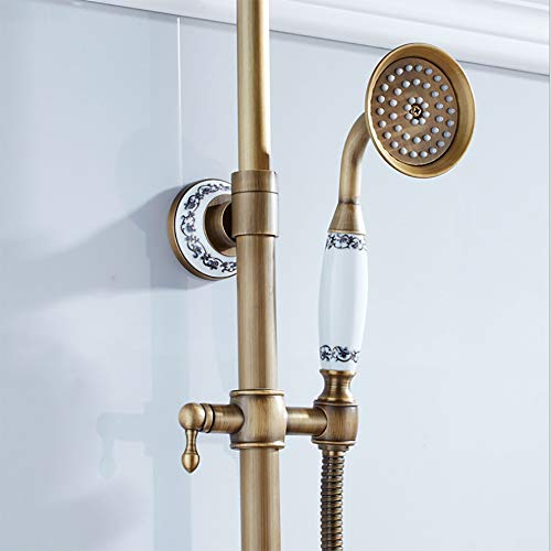 AA100 Badezimmer-Einrichtungsgegenstände Retro Bathroom Duschsystem Duschset Faucet Antique Brass Mixer Tap Hand Held mit Hubstange und Schlauchsystem