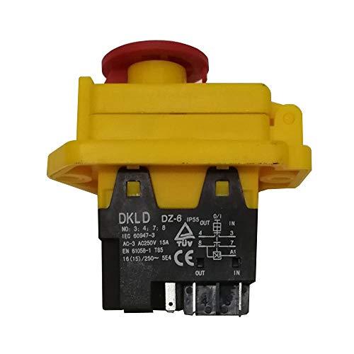 DKLD DZ-6 Wasserdichter Drucktastenschalter mit Not-Aus-Abdeckung EIN AUS Elektromagnetische Schalter für Werkzeugmaschinen AC 250V 15 / 16A CE TUV