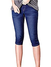 094a865b03 GIFTPOCKET Women's Maternity Shorts Denim Jeans Stretch Pencil Cropped Jeans  Capri Pant, High Waist and