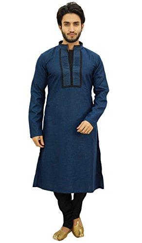 Atasi Atasi Herren Blau Designer Kurta-Pyjama-Set Lange Baumwoll Punjabi Hemd-Small