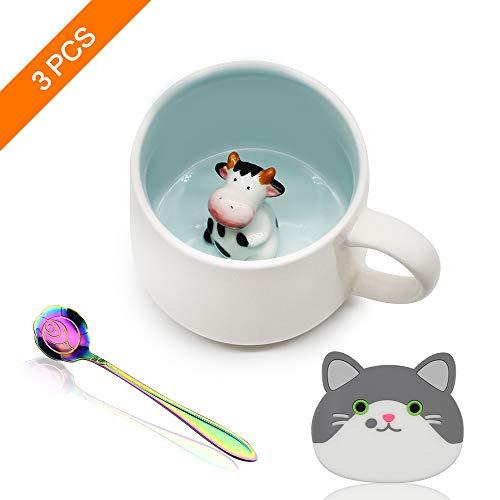 Keramik Kaffeetasse Lustige Teetassen Handgemachte Nette Kuh Tasse Für Freunde Mitbewohner Familie oder Kinder Niedliche Tierkaffeetasse Als Überraschungsgeschenk Geburtstagsgeschenk 13.5 Oz