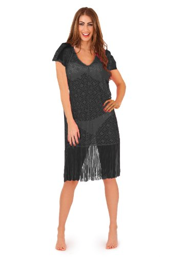 Damen Beach Cover up Kleid New Boutique Damen Tunika Sommer Kimono Kaftan Top Schwarz