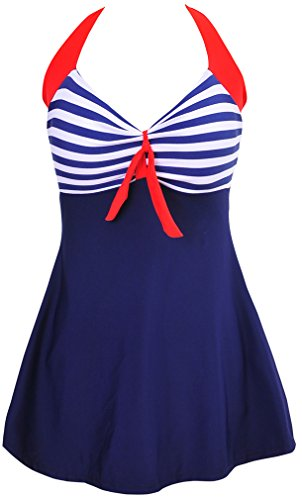 EUDOLAH Damen Retro-Schwimmanzug, gepunktet, Übergröße, Einteiler, Bademode mit Boyshort Bottom Gr. Größe 40-42 (L), Blue-Stripe -
