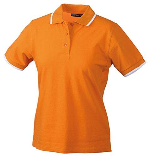 JAMES & NICHOLSON Polo piqué rayé haute qualité orange/blanc