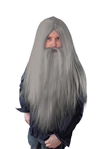 Bristol Novelty BW909 Zauberer Perücke mit langem Bart, Grau, Herren, Einheitsgröße (Bart Halloween Kurze Haare)