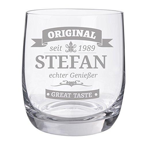 "Personello Whiskyglas mit Gravur, Motiv Original, Name / Jahr / Text personalisiert, graviertes Whiskyglas ""Tumbler"""