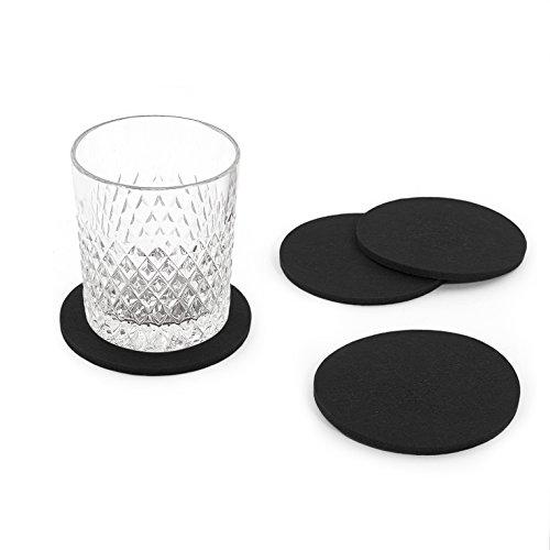 Oblique Unique® Filzuntersetzer rund 4er Pack für Tisch und Bar - Glasuntersetzer Untersetzer aus Filz (Schwarz)