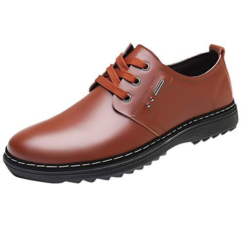 KonJin Men Business Leather Shoes Casual Round Toe Lace-UP Male Suit Shoes Oxford Capped Suitable