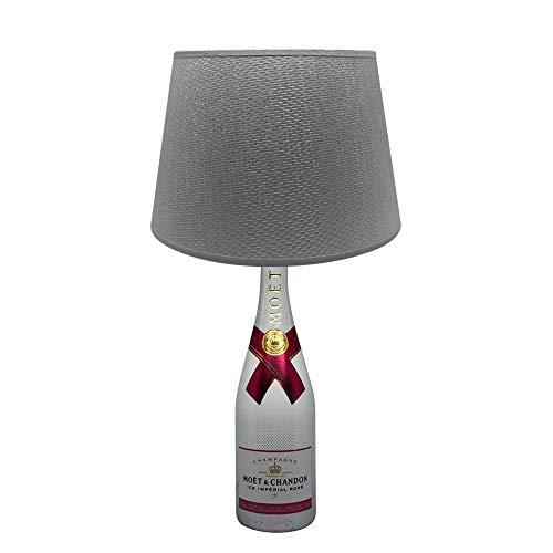 Dekoflasche Moet Ice Rose - Moet & Chandon Ice rosé - originelle Dekolampe Tischlampe mit Stoffschirm I individuelle Tischleuchte E27 modern - Stehlampe Flaschenlicht Dekoleuchte (Traditionellen Nachttisch)