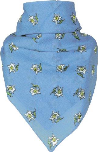 Bandana mit Edelweiss in 15 Farben aus Baumwolle, Farben:hellblau, Größen:Einheitsgröße