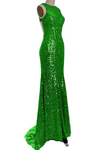 MACloth 2016 Women's Mermaid Sequin Long Prom Dress Formal Evening Party Gown Grün