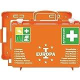 Söhngen 03001356 Erste-Hilfe-Koffer EUROPA I orange/Erste-Hilfe-Kasten mit Unterteilung und Wandbefestigung, gefüllt; mit aluderm Wundverbände und SIRIUS Rettungsdecke; 20 Jahre sterile Verpackung
