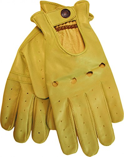 German Wear, Herren Driving Autofahrer-Handschuhe Lederhandschuhe, Größe:10=XL, Farbe:Gelb
