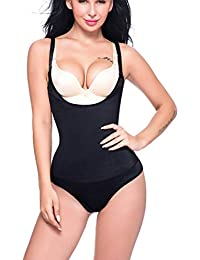 SLIMBELLE Femme Body Sculptante Combinaisons Minceur Efficace Lingerie  Bustiers Ajustable Body Shaper Ventre Plat Shapewear Noir 91d10adbe24