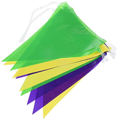 Arteki 50707-GGP GGP Indoor/Outdoor Pennant Banner, 10-Inch by 12-Feet 50707 (Gold/Green/Purple) (Purple Banner Pennant)