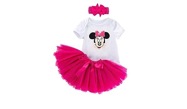Neonata Topolina Body Bianco Bambina Bimba Prima Infanzia Maglia Minnie Mouse Fascia Capelli Maglietta Tulle Completino Rosa Ballerina KIRALOVE Completo Tutu