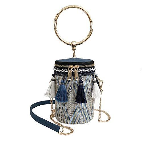 REALIKE Herren Damen Umhängetasche Handtasche Mode Neue 2019 Retro Quaste Reißverschluss Schultertasche Kuriertasche Elegant klein Damenhandtasche Handbag Abendhandtasche Eimer Tasche