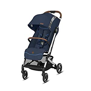 gb Gold Qbit+ All-City Compact Pushchair, Lie-Flat Reclining Seat, from Birth to 17 kg (Approx. 4 Years), Silver Anodised Frame, Fashion Collection Edition, Night Blue   2