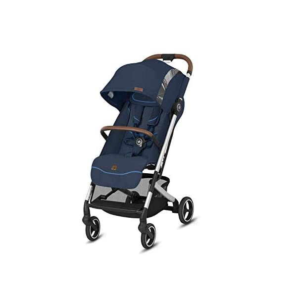 gb Gold Qbit+ All-City Compact Pushchair, Lie-Flat Reclining Seat, from Birth to 17 kg (Approx. 4 Years), Silver Anodised Frame, Fashion Collection Edition, Night Blue GB High-quality and stable compact pushchair for newborns up to approx. 17 kg (approx. 4 years) with one-hand folding mechanism and full flat lying position - Robust frame, push handle and protective bar with leather details Optimum comfort for children of all sizes: One-hand adjustable backrest and leg rest, Head and shoulder pads for extra comfort, Easy pushing on flat surfaces thanks to single wheels on front and rear, Four wheel suspension, Swivelling and lockable front wheels Simple folding with one-hand folding mechanism to compact travel size of L:27x W:43x H:58 cm, Can be used as 3-in-1 travel system with separately available adapter for gb or CYBEX infant car seats and Cot to Go pushchair attachment 1