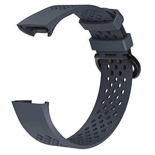 Y56 Silikon Armband für Fitbit Charge 3 Ersatz Zubehör Uhrenarmband Strap Soft Sport Uhrenarmbänder Band Smart Watch Ersatzband (Midnight Blau, Large) (Xl Fitbit Band)